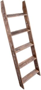 Simply Superlative Rustic Wood Wall Leaning Blanket Ladder
