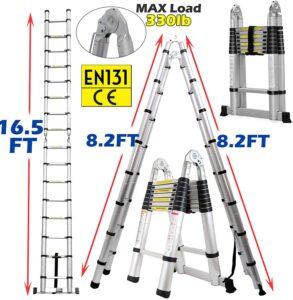 Guanchen 16.5FT Telescopic Folding Ladder
