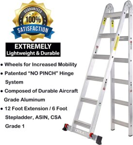 TOPRUNG 12ft. 2IN1 Aluminum Extension Ladder